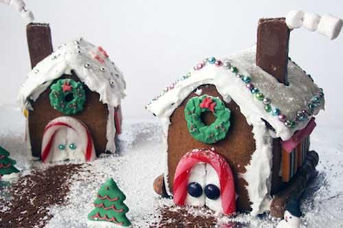 casitas de navidad iluminadas