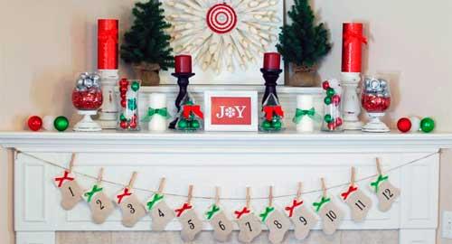 chimeneas decoradas de navidad