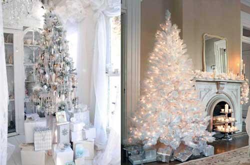 como adornar un arbol de navidad blanco