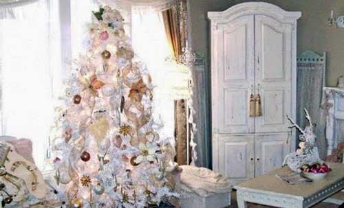como decorar un arbol de navidad blanco