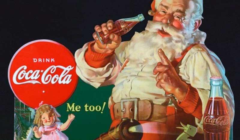 papa noel invento de coca cola