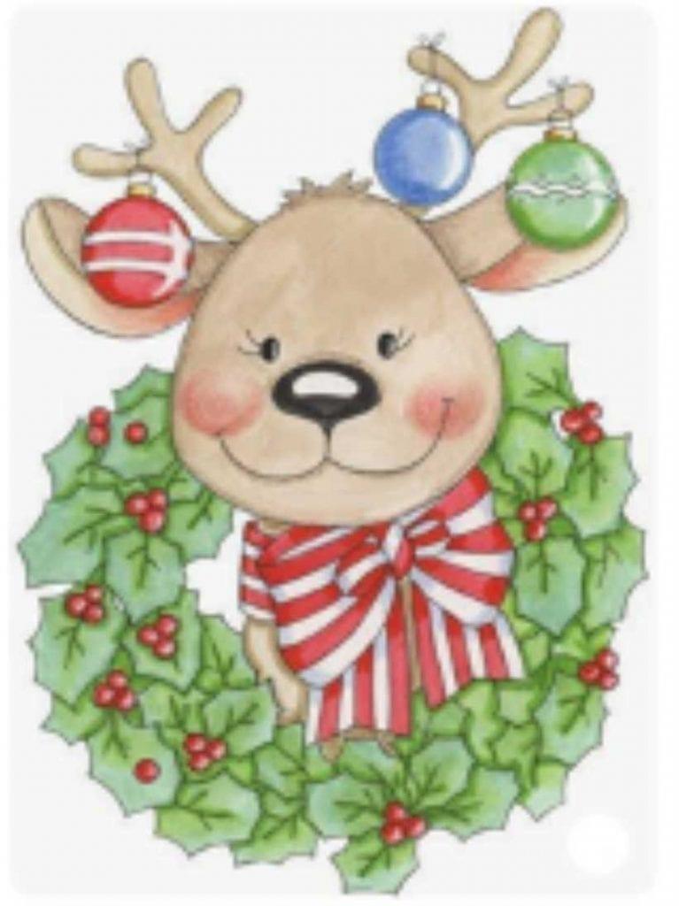 dibujos de renos navideños