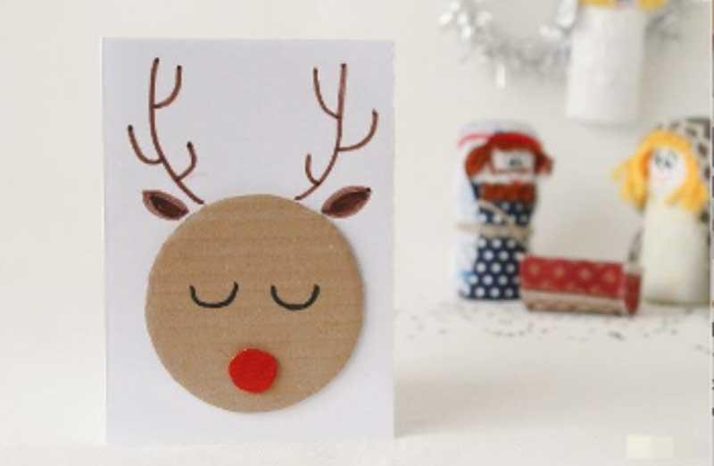 felicitacion navideña reno carton